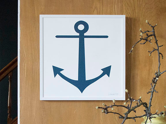 Framed single colour Anchor print from Banquet Workshop, in Navy Blue on white background.