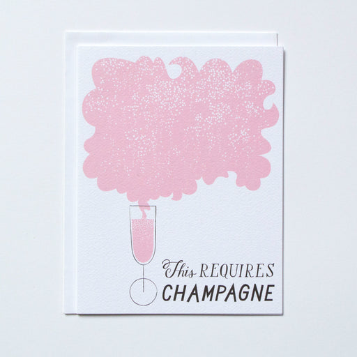 This Requires Champagne text with drawing of a glass of champagne for celebration wedding card congratulations