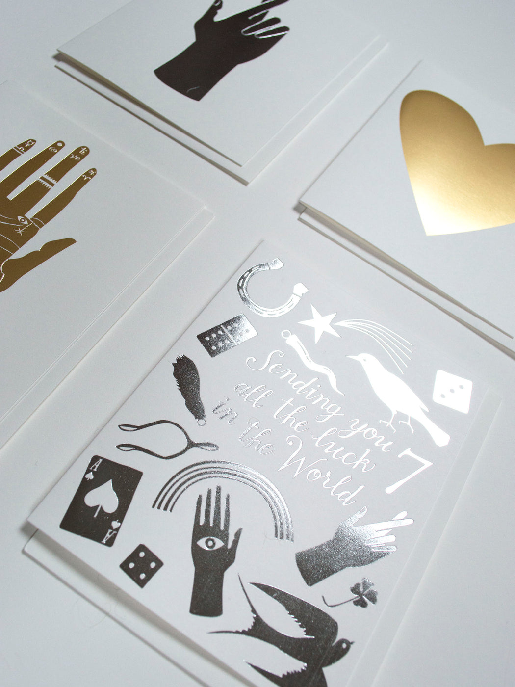 Classic Banquet metallic foil notecards, styled.