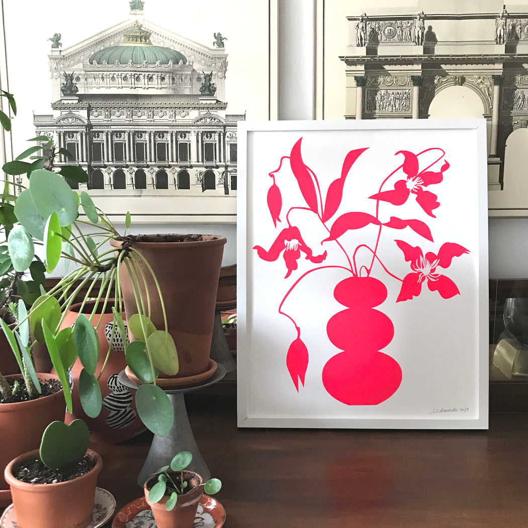 screen print of the brightest neon vase with vining clematis