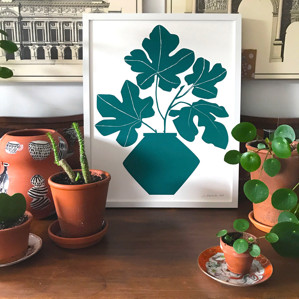 Framed print of Fig Leaves on a vase