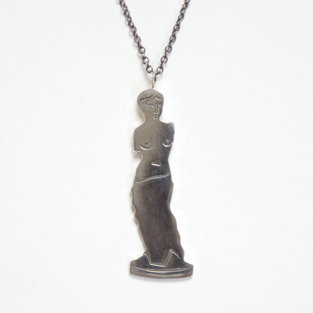 Cast and engraved sterling silver Venus de Milo necklace and chain from Banquet Workshop