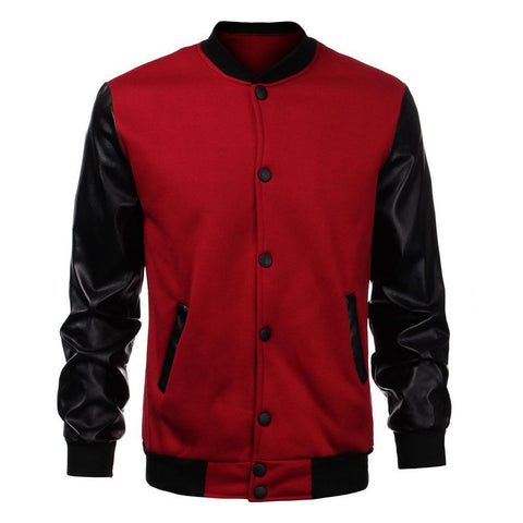 Mens leather sleeve varsity jacket