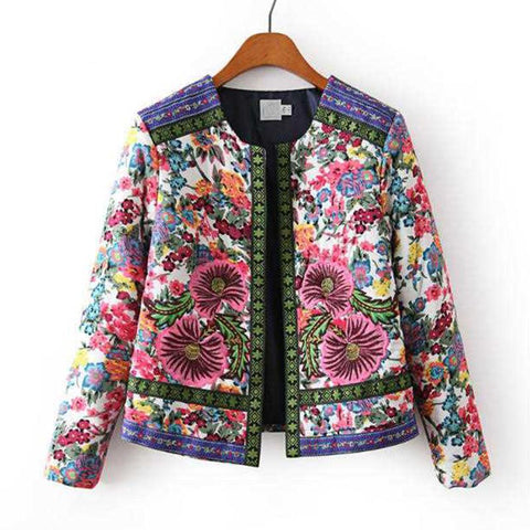Padded floral design cardigan style jacket