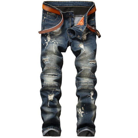 Mens ripped patchwork biker jeans