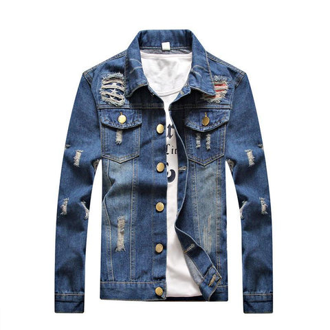 Denim ripped jean jacket