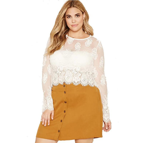 Plus size white laced blouse