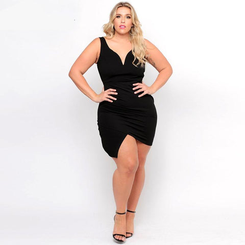 Sleeveless bodycon v-neck dress