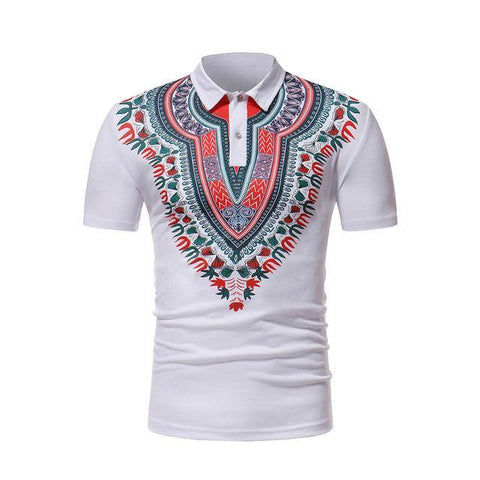 Mens short sleeve dashiki polo shirt