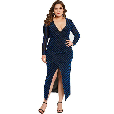 V-Neck split plus size dress