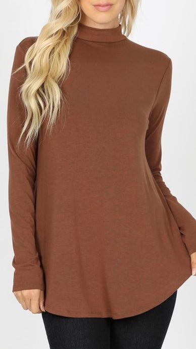 Mocha - Mock Neck Relaxed Fit Top