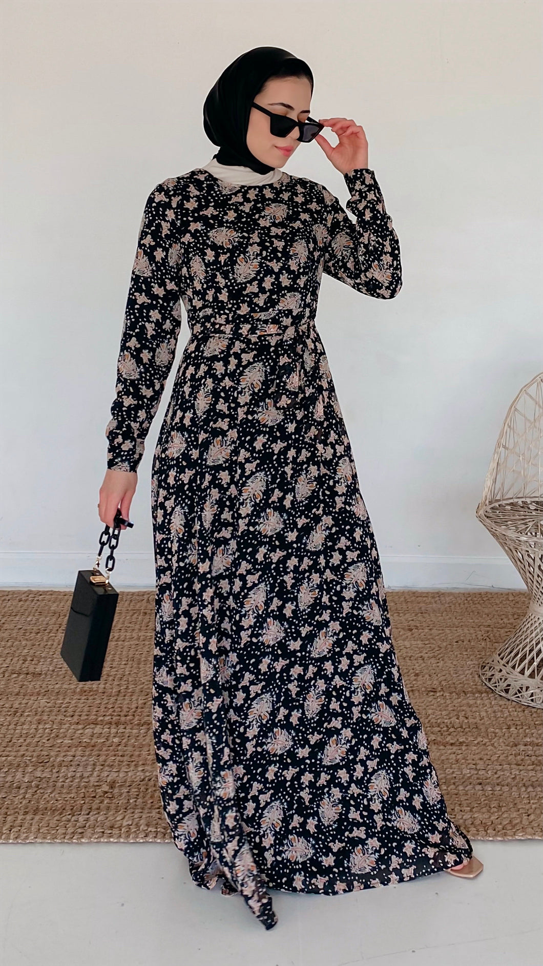Black Golden Mehndi Maxi Dress