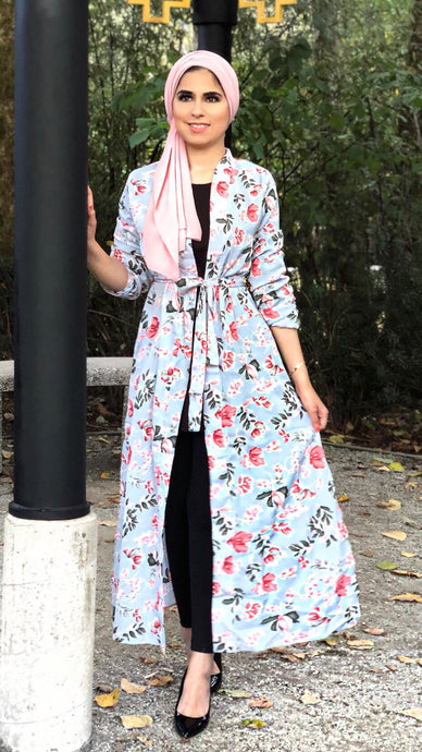 Grey Sprung on Florals Maxi Cardigan