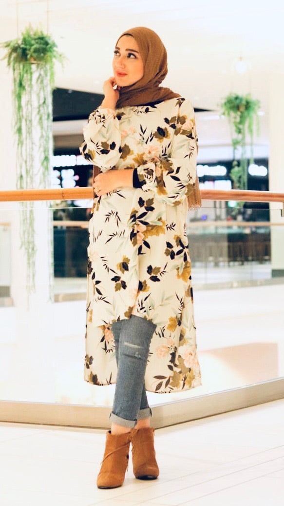 Ivory Fall Into Floral Tunic