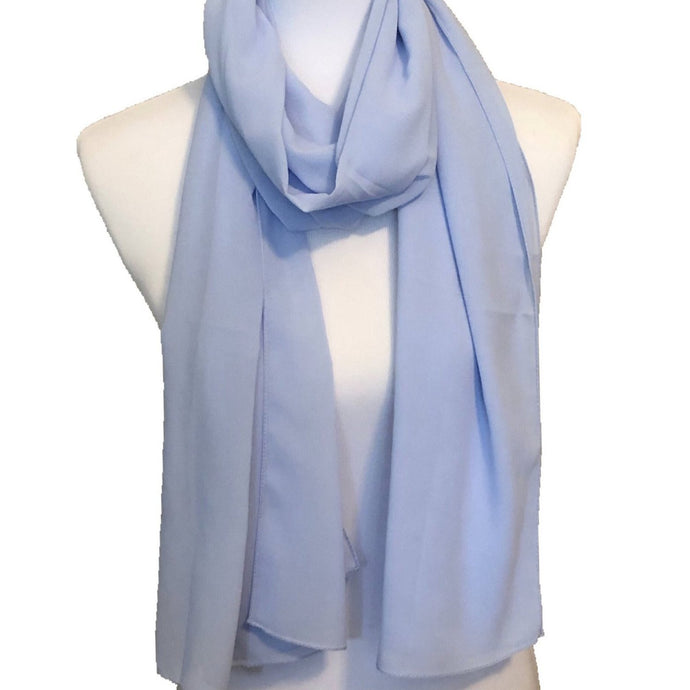 Powder Blue Solid Pearl Chiffon Hijab