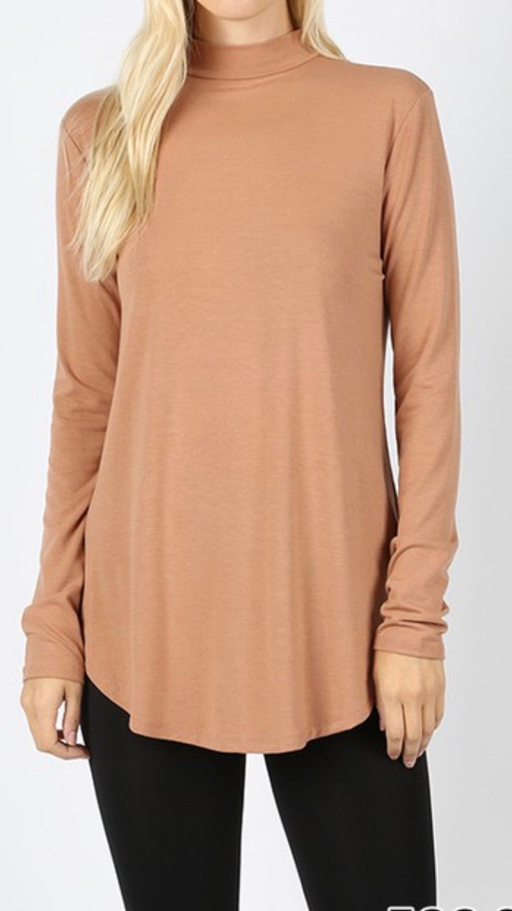 Toffee - Mock Neck Relaxed Fit Top