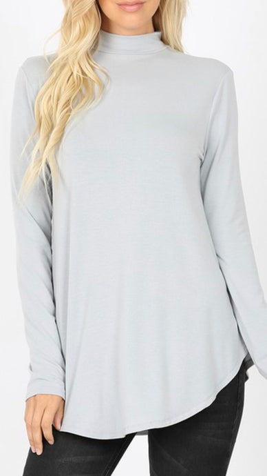 Dove - Mock Neck Relaxed Fit Top