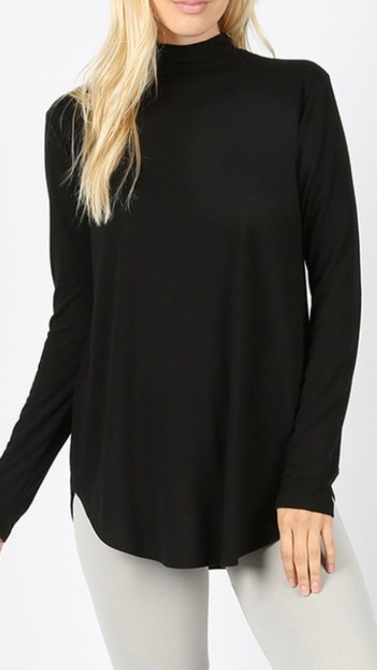 Black - Mock Neck Relaxed Fit Top