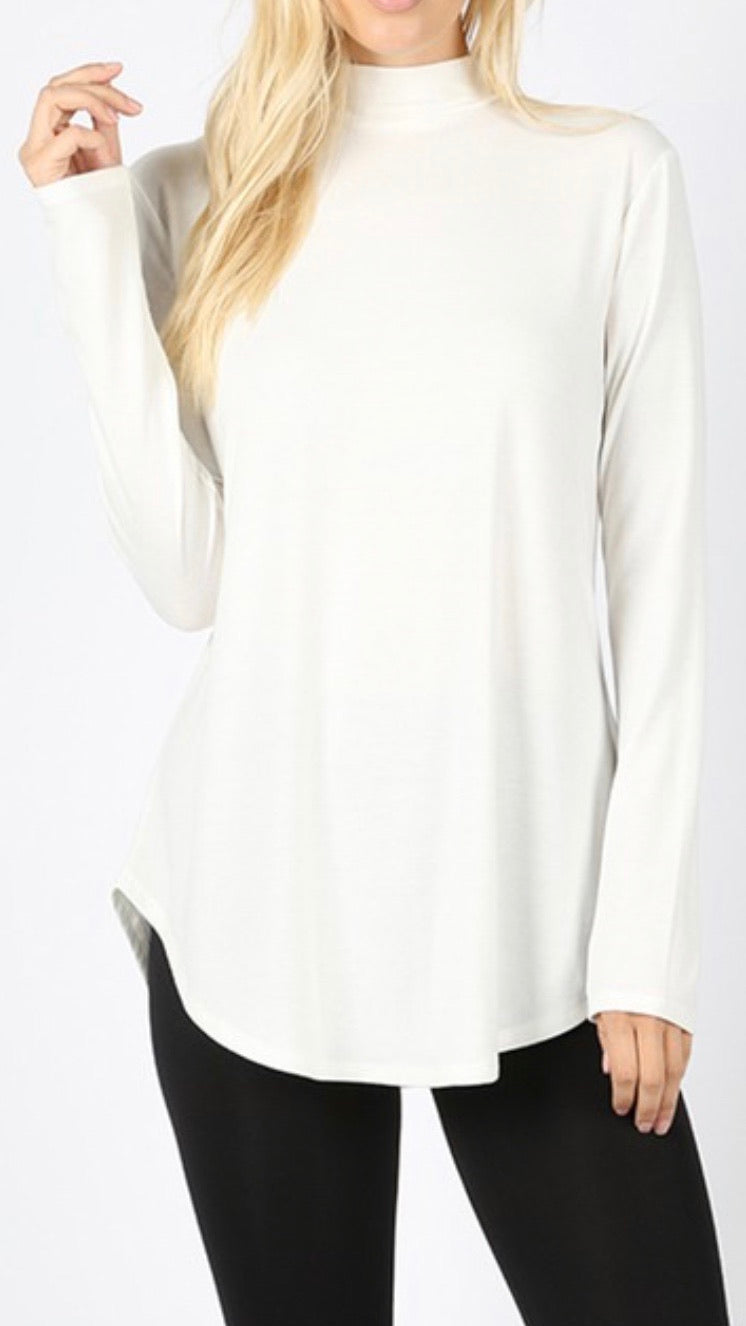 Ivory - Mock Neck Relaxed Fit Top