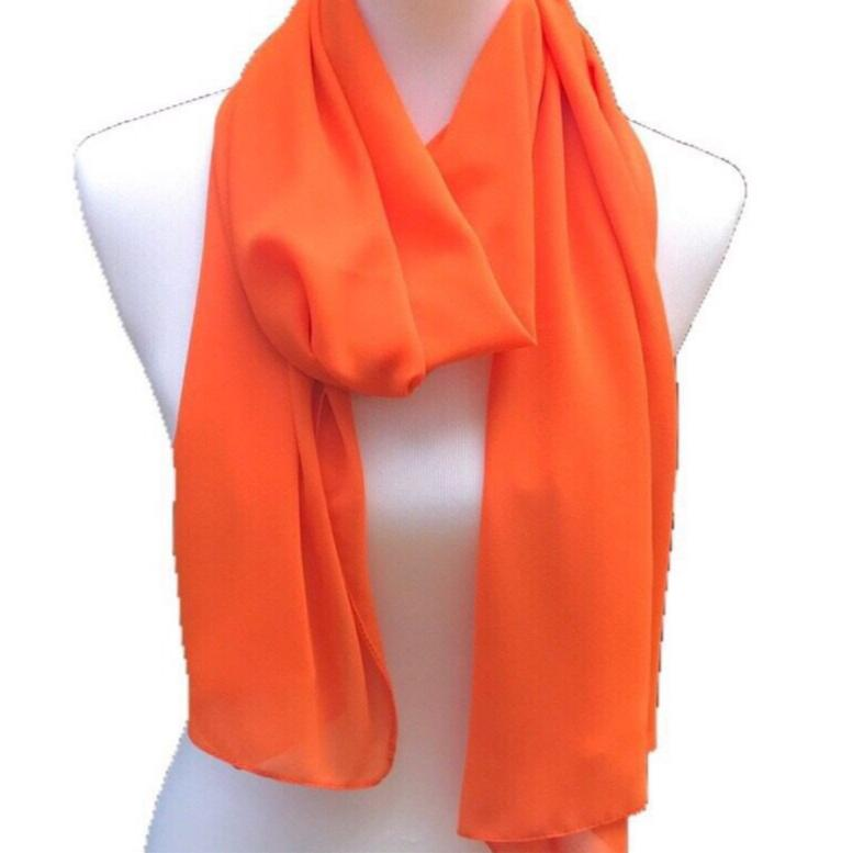Orange - Solid Pearl Chiffon Hijab