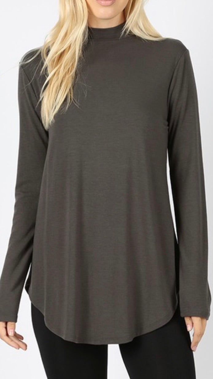 Slate - Mock Neck Relaxed Fit Top