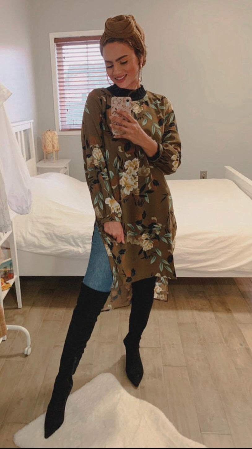 Taupe Fall Into Floral Tunic