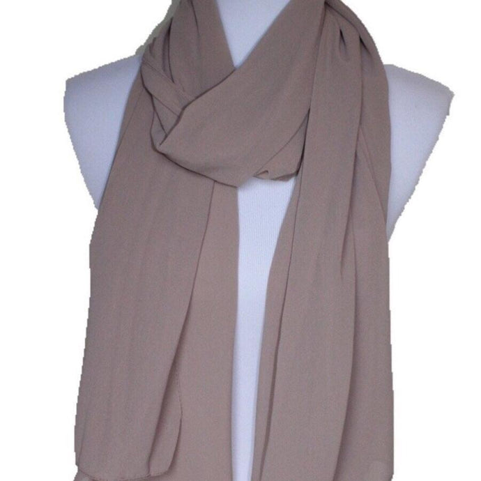 Light Brown - Solid Pearl Chiffon Hijab
