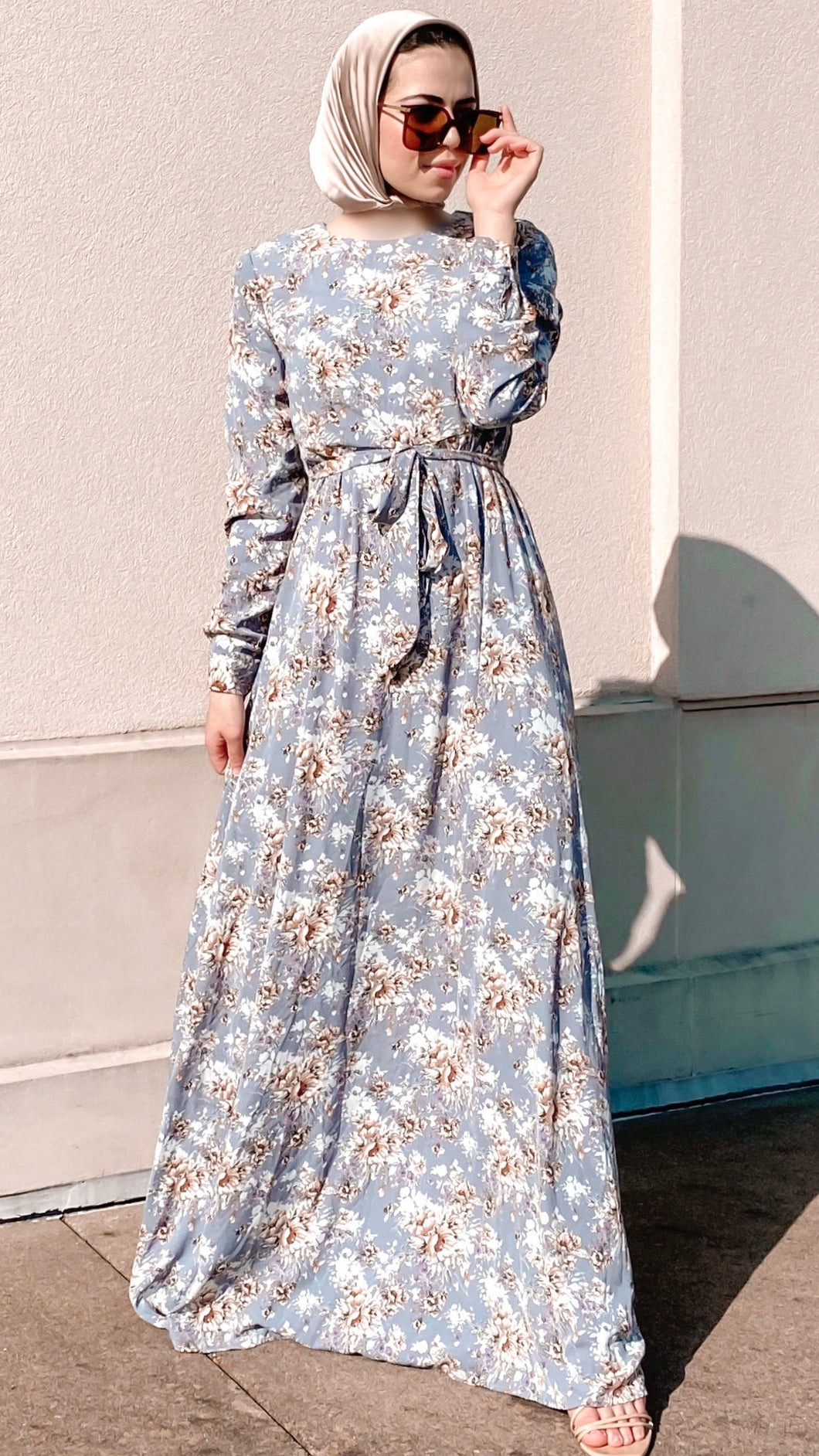 Blue Wildflowers Maxi Dress