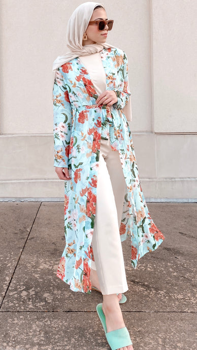 Blue Come Into Bloom Maxi Cardigan