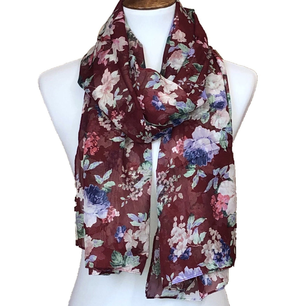 Maroon Floral Tea Party - Print Chiffon Hijab