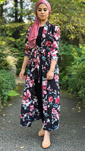 Black Floral in Love Maxi Cardigan