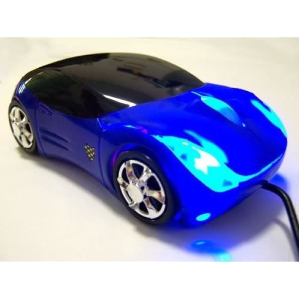 USB Optical Scroll Wheel Car Shape Mice Mouse Notebook PC - Blue