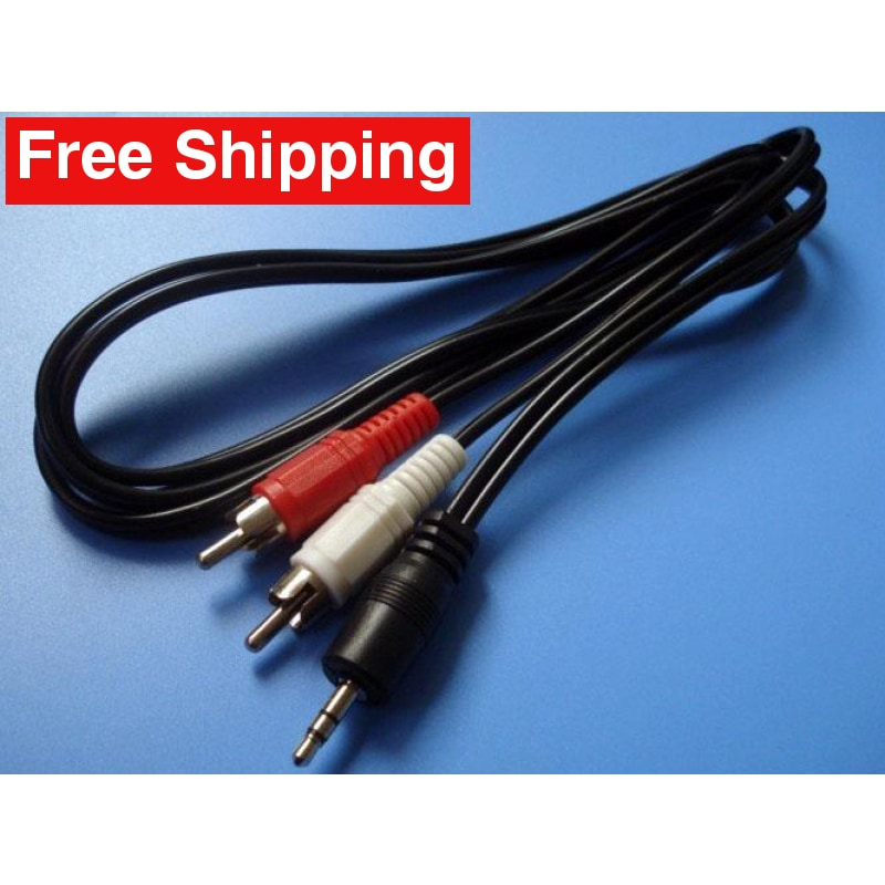 3.5mm Aux Auxiliary Cable Cord To 2 RCA MP3 1.5ft - Free Shipping