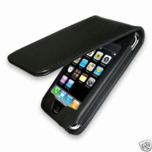 Leather flip skin case cover for Apple Iphone 4 4G Black