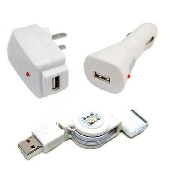 3 in 1 USB Cable Car Wall Charger For iPhone 2G 3G 3Gs iPod Nano Touch