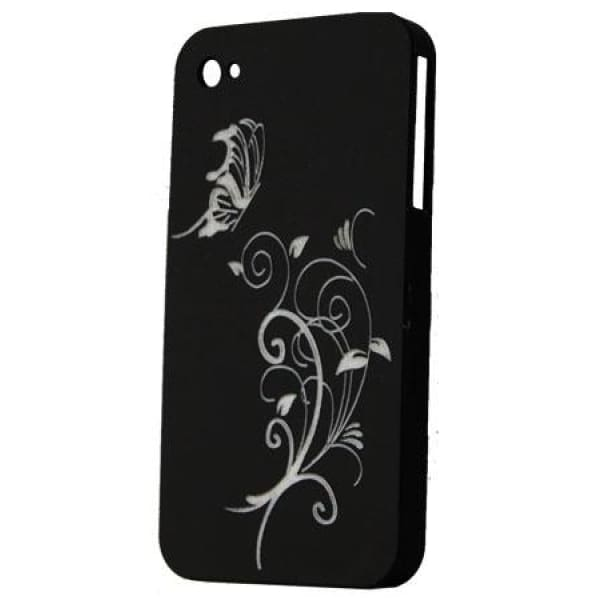 Snap-on Hard Back Cover Case for Apple Iphone 4 Black - F
