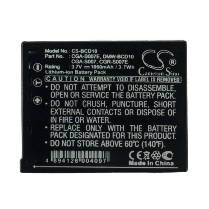 Premium Battery for Panasonic Lumix Dmc-tz1, Lumix Dmc-tz11, 3.7V, 1000mAh - 3.70Wh