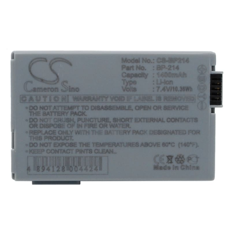 Premium Battery for Canon Dc50 7.4V, 1400mAh - 10.36Wh