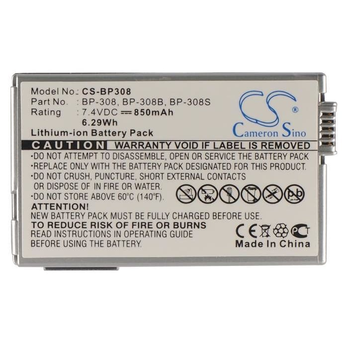 Premium Battery for Canon Dc51, Dmvx4i, Ixy Dvm5, 7.4V, 850mAh - 6.29Wh
