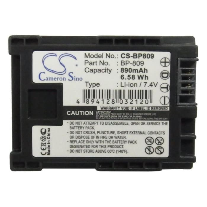 Premium Battery for Canon BP-809, Fs10, FS11, FS100 Flash Memory Camcorder, 7.4V, 890mAh - 6.59Wh