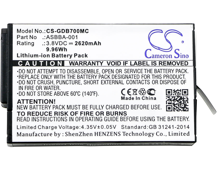 Premium Battery for Gopro, Fusion 3.8V, 2620mAh - 9.96Wh