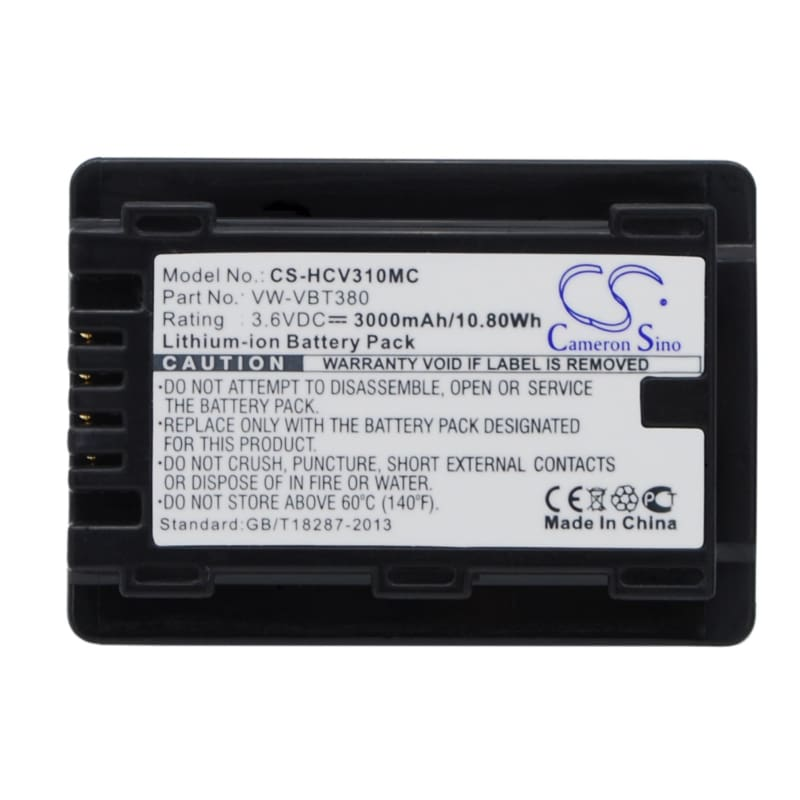 Premium Battery for Panasonic Hc-250eb, Hc-550eb, Hc-727eb, Hc-750eb, 3.6V, 3000mAh - 10.80Wh