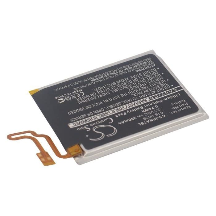 Premium Battery for Apple Ipod Nano 7th, Ipod Nano 7 3.7V, 200mAh - 0.74Wh