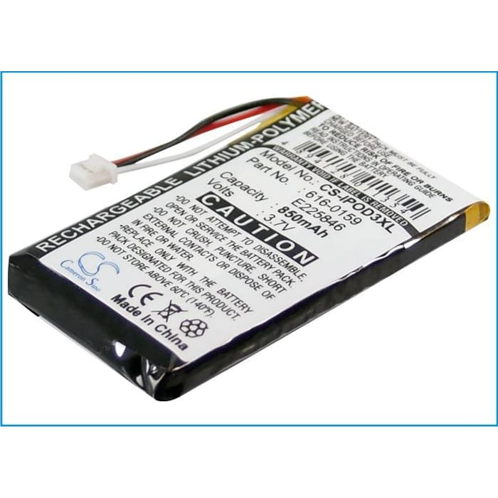 Premium Battery for Apple Ipod 3th Generation, Ipod 20gb M9244ll/a, Ipod 15gb M9460ll/a 3.7V, 850mAh - 3.15Wh