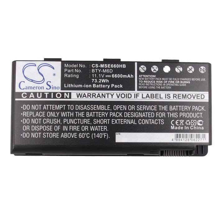 New Premium Notebook/Laptop Battery Replacements CS-MSE660HB