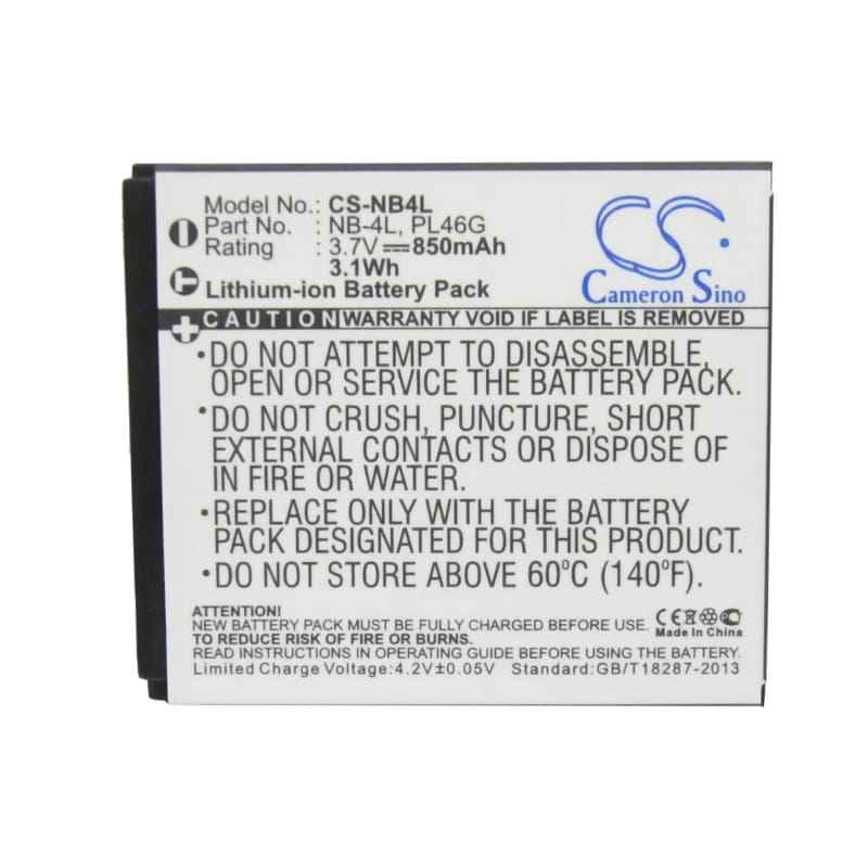 Premium Battery for Canon Digital Ixus 100 Is, 3.7V, 850mAh - 3.15Wh