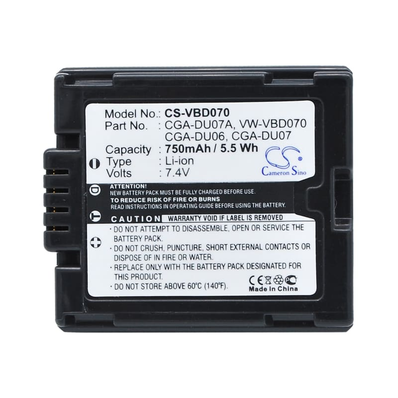 Premium Battery for Hitachi Dz-bd70, Dz-bd70a, Dz-bd70e, Dz-bd7h, 7.4V, 750mAh - 5.55Wh