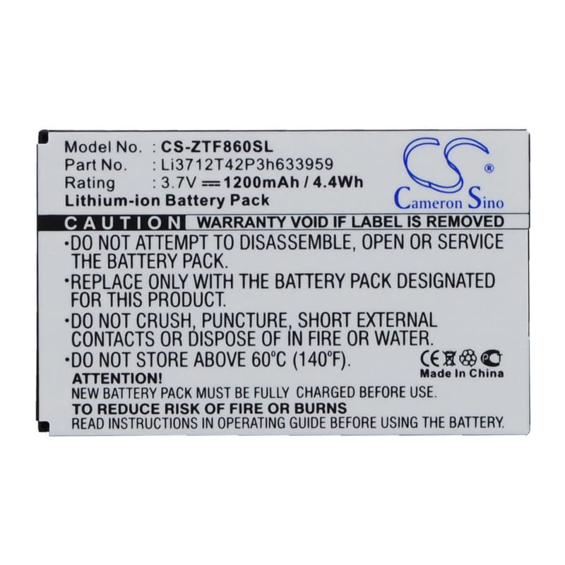 New Premium Mobile/SmartPhone Battery Replacements CS-ZTF860SL
