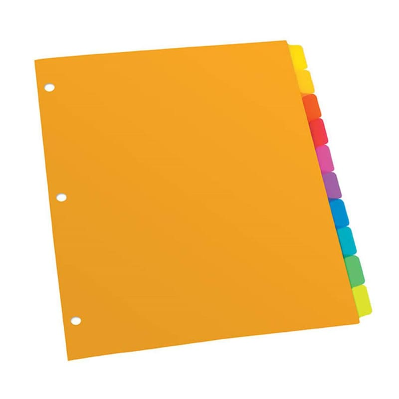 Oxford® Poly Plain Tab Dividers 1-10 (10 Tabs Per Set), 1 Set Per Pack 714642