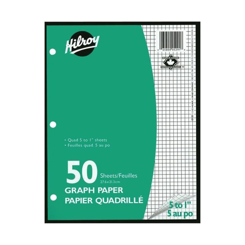 "Hilroy® Quad-ruled Loose Leaf graph Sheets,10-7/8 x 8-3/8"", 3 hole-punched, 50 sheets/pack"